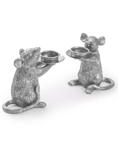 Large Pair of Silver Mouse Mice Tea Light Holders 15 cm High