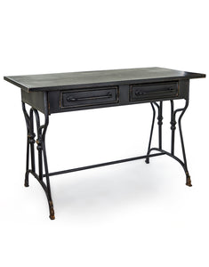 Industrial Style Distressed Black Metal Desk with 2 Drawers