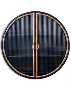 Black and Distressed Gold Metal Wall Cabinet With Ribbed Glass Doors