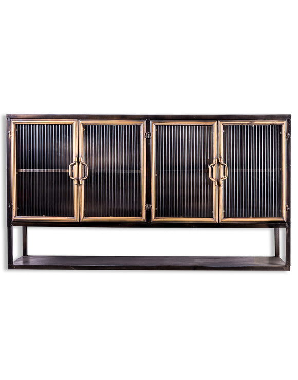 Black and Distressed Gold Wide Metal Wall Cabinet With Ribbed Glass Doors