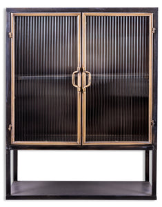 Black and Distressed Gold Square Metal Wall Cabinet With Ribbed Glass Doors