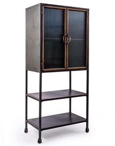 Black and Distressed Gold Tall Metal Freestanding Cabinet With Ribbed Glass Doors