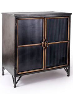 Black and Distressed Gold Tall Metal Square Freestanding Cabinet With Ribbed Glass Doors