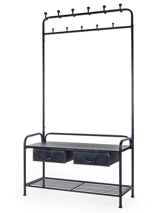 Industrial Style Distressed Black Iron Metal Coat Rack Bench Shelf Unit 186 cm High
