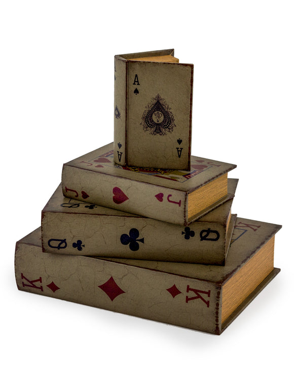 Set of 4 Storage Boxes - The Playing Card Collection! - Antique Book Style - Decorative, Witty and Practical