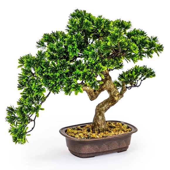 Large Artificial Plant Bonsai Tree in Iron Pot Faux Botanical 46 cm Tall