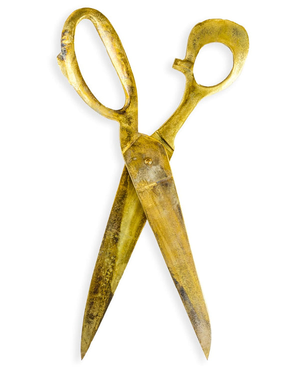 Large Antiqued Gold Aluminium Scissors Wall Hanging Decor 76 cm