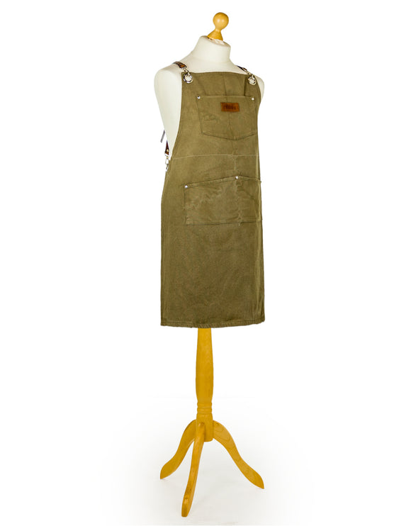 Slave to the Stove - Artisan Canvas Apron With Leather Straps