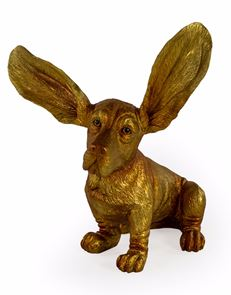 Gold Surprised Basset Hound Dog Ornament Statue Decorative Big Ears 37 cm High