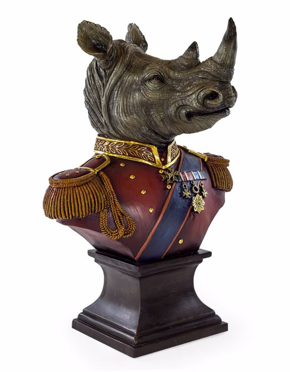 Large Gentry Rhino Head Bust on Square Base 65 x 45 x 32 cm