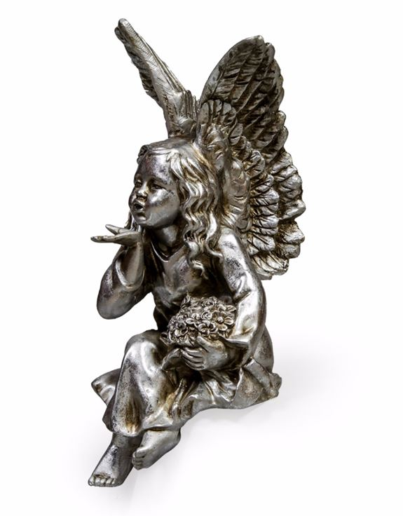 Shabby Chic Antique Silver Sitting Fairy / Angel Blowing a Kiss Figure