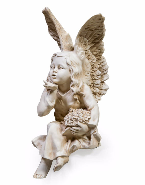 Shabby Chic Antique White Sitting Fairy / Angel Blowing a Kiss Figure
