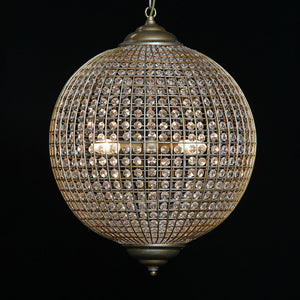 Brushed Gold Globe Orb Glass Crystal Chandelier 40 cm Diameter - New