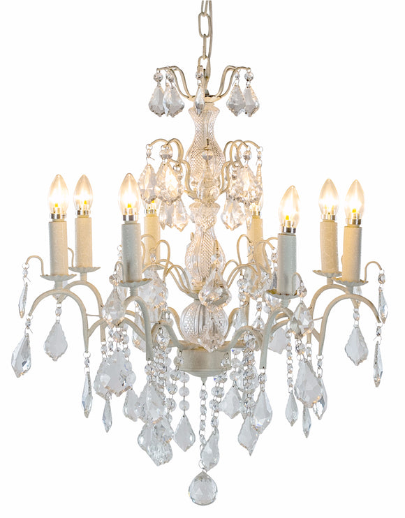 Eight Arm Antiqued Crackle White Metal Frame Crystal Glass Chandelier 60 cm Diameter x 70 cm High
