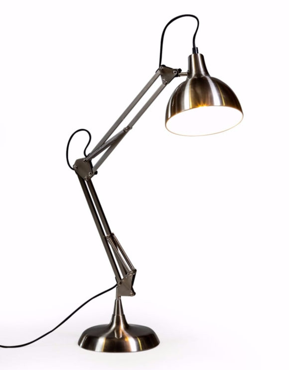 Stylish Brushed Steel Metal Desk Table Lamp with Black Fabric Flex 75 cm High
