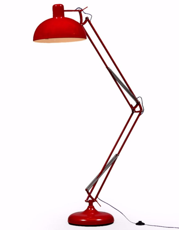 Large Stylish Red Desk Style Floor Lamp With Purple Fabric Flex 190 cm High