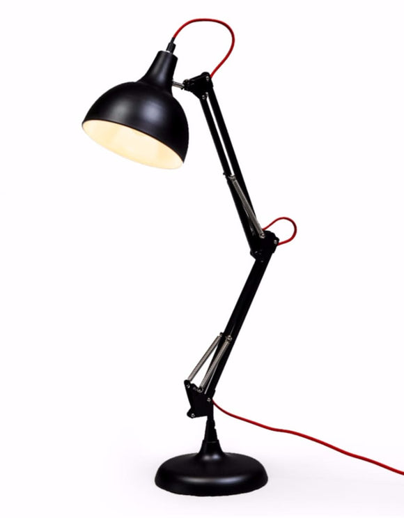 Stylish Matt Black Angle Desk Table Lamp with Red Fabric Flex - 75 cm High - NEW