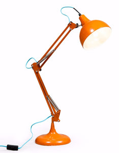 Stylish Orange Desk Angle Table Lamp With Blue Fabric Flex - 75 cm High - NEW