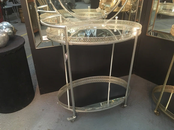 Antiqued Silver Serving  Tea Drinks Metal Trolley with Mirror Shelves 87 x 78 x 47 cm