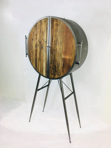 Round Metal Bar Unit With Reclaimed Wood Doors