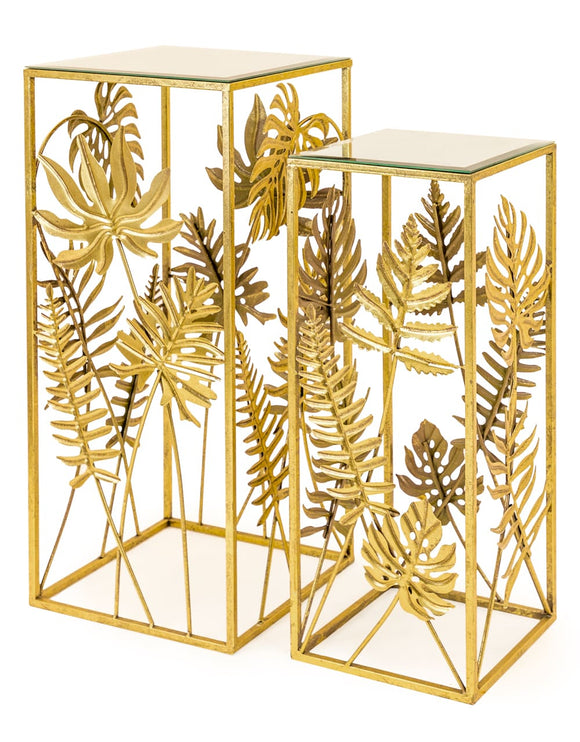 Set of two Square Side Tables / Plant Stands Tropical Gold Leaf Metal With Mirror Tops