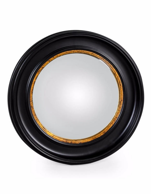 Black and Gold Frame Convex / Fisheye Mirror 74 cm Diameter