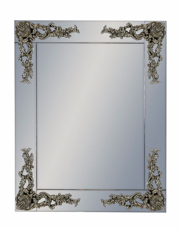 Beautiful Antique Silver Corner Detail Wall Mirror 104 x 84 cm