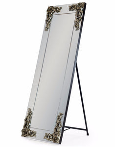 Beautiful Antique Silver Corner Detail Cheval Dressing Mirror 165 x 57 cm - Due end of September