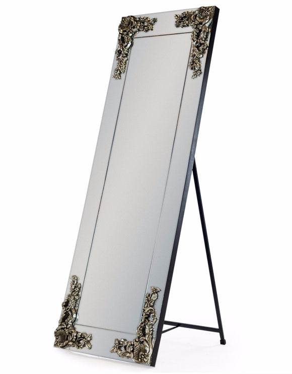 Beautiful Antique Silver Corner Detail Cheval Dressing Mirror 165 x 57 cm - Due end of mid January 2021