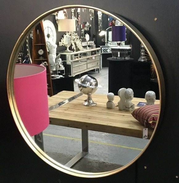 Round Brushed Gold Wall Mirror 50.5 cm Diameter x 4 cm Deep