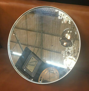 Round Brushed Silver Wall Mirror 50.5 cm Diameter x 4 cm Deep