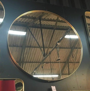 Extra Large Round Brushed Gold Wall Mirror 90.7 cm Diameter x 4 cm Deep