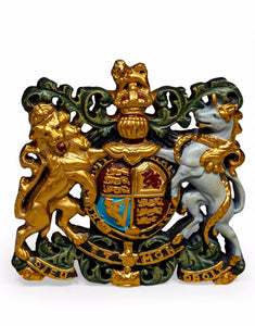 Queen Elizabeth Antiqued Multi Colour Coat of Arms Wall Plaque 37 x 36 cm