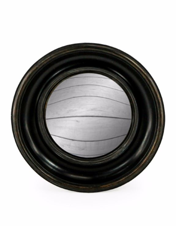 Antiqued Black Round Frame Convex Fisheye Wall Mirror 23 cm Diameter
