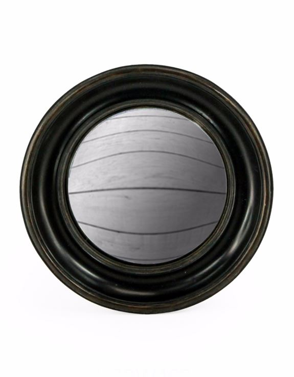 Antiqued Black Round Frame Convex Fisheye Wall Mirror 26.5 cm Diameter