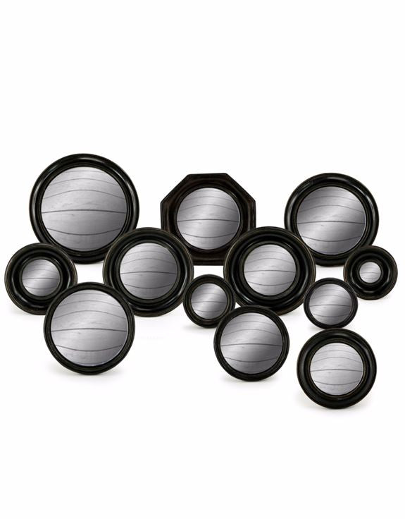 Set of 12 Antiqued Black Frame Convex Fisheye Wall Mirrors