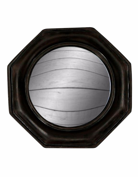 Antiqued Black Octagonal Frame Convex Fisheye Wall Mirror 25 cm x 25 cm