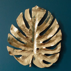 Large Distressed Gold Monstera Leaf Wall Decor Hanging