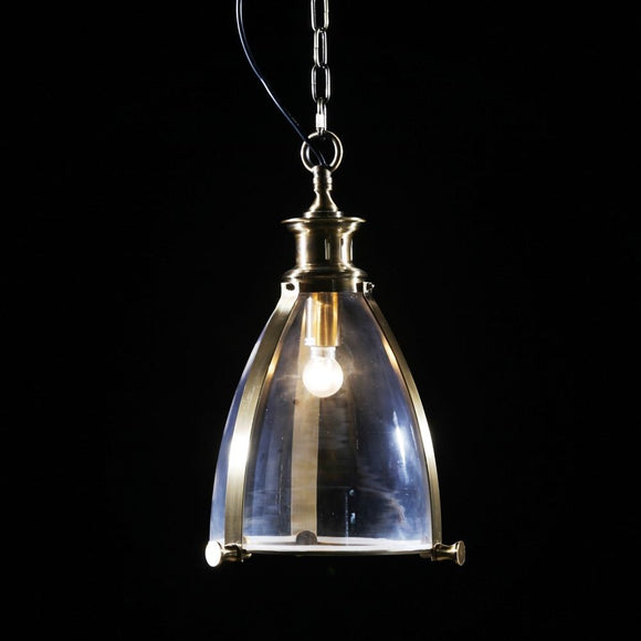 Brass and Glass Lantern Ceiling Pendant Light 50 x 30 x 30 cm