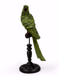 Tropical Green Parrot Figure on Perch 44 cm High