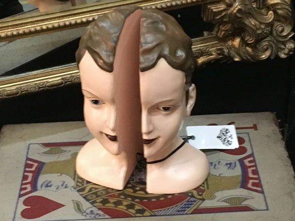 Antiqued Split Female Deco Head Bookends 26.5 cm x 18.5 cm x 14 cm each