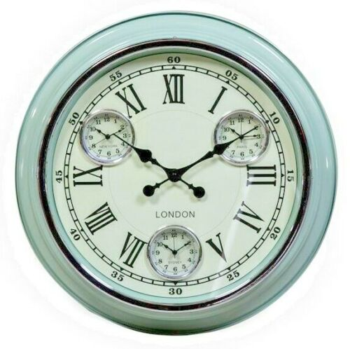 Large Multi Dial Time Zone Wall Clock - Vintage Blue with White Face 50cm Diameter NEW