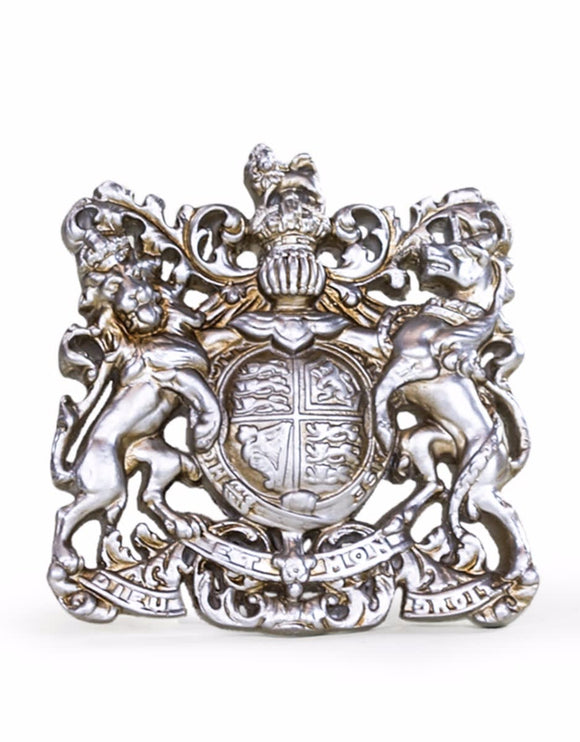 Queen Elizabeth Antique Silver Coloured Coat of Arms Wall Plaque 37 x 36 cm