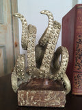 Gold Colour Pair of Octopus Bookends 20 cm High x 15 cm Wide x 13 cm Deep each - Steampunk - Due January