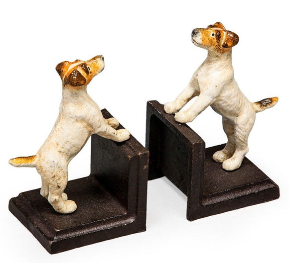 Cast Iron Antiqued Pair of Terrier Bookends 16 x 9 x 9 cm each