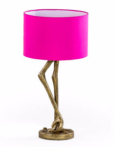 Antiqued Gold Flamingo Legs Lamp with Pink Shade 60 cm High