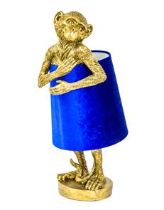 Antiqued Gold Bashful Monkey Table Lamp with Black Velvet Shade 55.5 cm High
