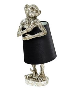 Antiqued Silver Bashful Monkey Table Lamp with Black Velvet Shade 55.5 cm High