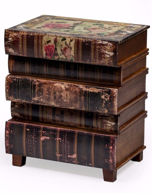 Antiqued Stacked Classic Books Cabinet Chest of Drawers 55 x 46 x 32 cm
