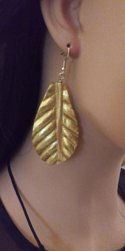 24K Gold Leaves Gold Painted Leaf Earrings Lightweight Leaf Dangles